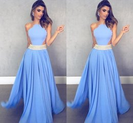 Wholesale Chinese Picture Art - Elegant Chinese Halter Long Prom Dresses Light Sky Blue Formal Dresses Evening Celebrity Gowns Custom Made Floor Length Party Dress BA6830