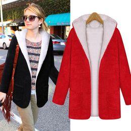 Wholesale Coat Womens Woolen - Women Cashmere Blends Coats 2017 Autumn Winter Fashion Womens Woolen Hooded Jacket Black Red Batwing Outwear European
