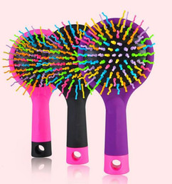 Wholesale Wigs Volume - 50 PCS Lot New Rainbow Comb Anti-static Brush Volume Massage Hairbrush With Mirror For Brazilian Indian Extension Human Wig Hair Tangle