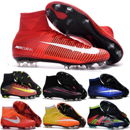 Wholesale Cheap Indoor Soccer Shoes Kids - Cheap 100% Original Quality Mercurial Superfly FG CR7 Kids Soccer Shoes Womens Girls Magista Obra Outdoor Football Boots Hypervenom Cleats