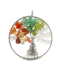 Wholesale Christmas Tree Specials - 12 Colors The Tree of Life Natural Crystal Stone Necklace Pendant Special Root Design Rainbow Color Pendant AXS-A243