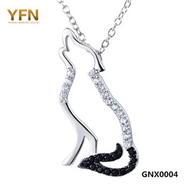 Wholesale 925 Silver Wolf Pendant - 100 %Real Pure 925 Sterling Silver Necklace Black White Cubic Zirconia Wolf Necklaces &Pendants Men And Women Jewelry Gnx0004