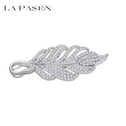 Wholesale China Wedding Party Suppliers - LA PASION Wholesale Jewelry Supplier New Luxury Fashion Brooches Leaves Korea Style Tree Leaf CZ Wedding Bridal White Gold Plated