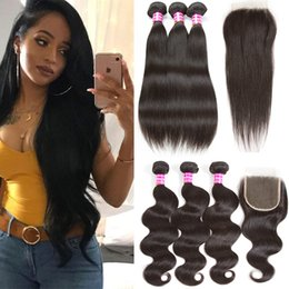 Wholesale Wet Wavy Ombre Weave - New Arrival Peruvian Brazilian Malaysian Hair Bundles with 4x4 Lace Closure Straight Body Wave Wet and Wavy Remy Human Hair Bundle Weaves