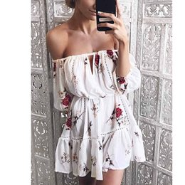 Wholesale Sexy Tunics Mini Dresses - Women Off shoulder hollow out summer dresses Loose floral print Tunic pleated sexy Mini dress robe casual beach dress