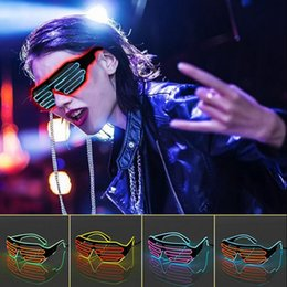 Wholesale Rave Halloween Costumes - EL Wire Neon Glasses Light Up Glow Sunglasses Club Party Rave Glasses Costume Party Halloween Supplies OOA2945
