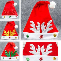 Wholesale Antlers Hat - New 4 styles Christmas sequins hats Cartoon Antlers decoration Christmas hat festival Party decoration supplies IA891