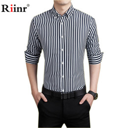 Wholesale Mens V Necks Lining - Wholesale- Rinnr Brand 2017 Spring New Arrival High Quality Men Fashion Male Shirt Line Men's Shirt Cotton Mens Shirts Casual Shirts