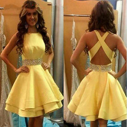 Wholesale Short Gold Prom Dresse - New Daffodil 2016 Short Cocktail Homecoming Dresses Beaded Belt A-line Prom Gown Satin Open Back Custom Made Robe De Soiree Cocktail Dresse