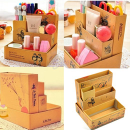 Wholesale Fairy Stationery - Wholesale- New Storage Box Desk Stationery DIY Paper Board Fairy Tale Cosmetic Makeup Organizer