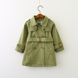 Wholesale Wholesale Double Breasted Girls Coat - Autumn 2017 Baby Girls Double Breasted Trench coats Kids Girls Fashion Casual Outwear Girls Jackets baby clothing