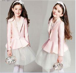 Wholesale Pink Tutu Coat - 2016 New Fashion Girls Clothing Sets Children Pink Suit Coat+White Lace Gauze Vest Dress 2pcs Set Cute Girl Outfits Kids Princess Suit