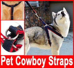 Wholesale Pet Leash Chain - Pet Cowboy Straps pet leash chest puppy dog leash chest back sets of large Collar Harness Chain Safety Belt Pets traction rope hot