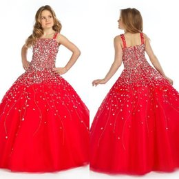 Wholesale Kids Glitz Pageant Dresses - vintage princess red heavily beading floor length ball gown kids prom pageant dresses for toddler girls glitz pageant dresses