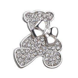 Wholesale small bear gifts - 2018 Vintage Jewelry Small bear Plated Brooch For Women Crystal Rhinestone Animal Badge Broche Suit Scarf Pin Brooches zj-0903666