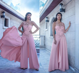 9aa54050e09 2018 Arabic Formal Dresses Pink Evening Wear One-Shoulder Long Sleeve  Chiffon Prom Gowns Appliqued Vintage Long Pants