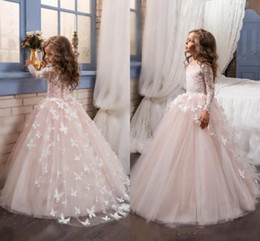 Wholesale Girls Butterfly Shirt - Ivory White Flower Girl Dresses Jewel Long Sleeves With Butterfly Applique Pageant Dresses Back Zipper Tiered Ruffle Custom Made Party Dress