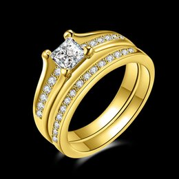 Wholesale 18k Wedding Yellow Diamond Ring - Women Luxury 18k Yellow Gold Filled With Inlay AAA CZ Simulated Diamond His Girlfriend Gift Wedding Ring For Women Rhinestones Anneau