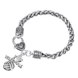 Wholesale Gray Fan - Free shipping Crystal I Love Volleyball Sports Charm Lobster Clasp Bracelet Sports Fans Jewelry