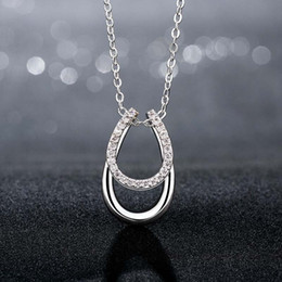 Wholesale Horse Hooves - Wholesale-Free shipping 1 Pc Lucky Rhinestone Double Horse Hoof Horseshoe Pendant Necklace Silver Plated Top quality Fashion Jewelry