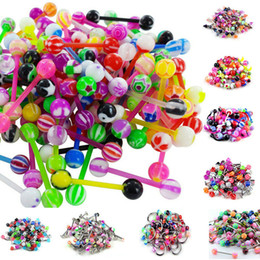 Wholesale Cone Eyebrow Piercing - 100pcs lot Assorted Color Acrylic Balls cones UV Tongue Ring Navel Belly Ring Eyebrow Ring Steel Laret Ring Body Piercing Jewelry