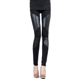 Wholesale Leather Leggings Hot - Wholesale- Sexy Womens Leggings New Fashion Stitching Stretchy Faux Leather Skinny Leggings Pants Hot Sale