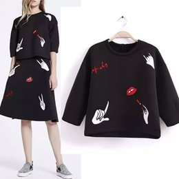 Wholesale Sequin Half Sleeves Tops - 2016 Ladies High Waist Half Sleeve Sweatshirt Funny Letters Sequins Lip Embroidery Space Cotton Pullovers Harajuku Cute Tops
