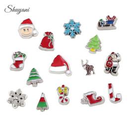Wholesale Bulk Christmas Charms - Enamel Metal Christmas Charms Floating Locket Charms Bulk Charms for Bracelet Living Memory Glass Locket Necklaces