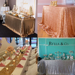 Wholesale Girls Christmas Ideas - Great Gatsby wedding table cloth Gold Bling round and rectangle Add Sparkle with Sequins wedding cake table idea Masquerade Birthday Party