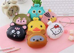 Wholesale Headphones Animal Print - Cute cartoon silicone coin candy color bag change purse key buckles portable bag headphones bag children's wallet 64pcs lot free shipping