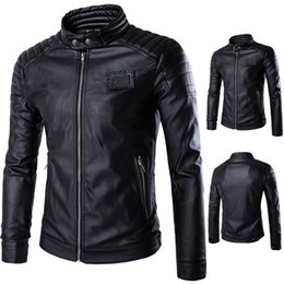 Wholesale Rivet Motorcycle Clothing - new arrived winter autumn fashion mens Designer Brand black leather Rivet jacket slim fit jackets for mens motorcycle clothes