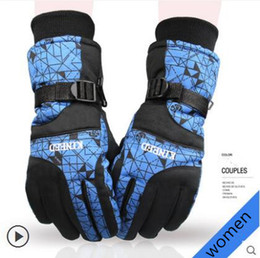 Wholesale Cold Winter Gloves - Latitude 35 gloves men and women winter warm thickening windproof waterproof cold cotton motorcycle riding bike ski gloves