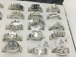 Wholesale Design Mixed Stainless Steel Rings - Wholesale Lot 36pcs Mixed Design Mens Stainless Steel Ring Women's Fashion Jewelry Band Ring Cross Owl Love Ring ETC
