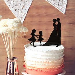 Wholesale Wedding Topper Silhouette - Sweet Kissing Bride and Groom Silhouette Wedding Cake Topper - Funny 2 Little Girls Silhouette Wedding Cake Topper