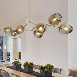 Wholesale Cloth Pendant Light Cord - Lindsey Adelman globe glass pendant lamp branching bubble modern chandelier Light cafe cloth shop 3 5 7 8 9 11 13 15 heads