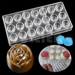 Wholesale Sugar Craft Flowers - DIY 3D Rose flower chocolate mold, wedding cake decoration candy sugar Craft polycarbonate chocolate moulds kitchen bakeware