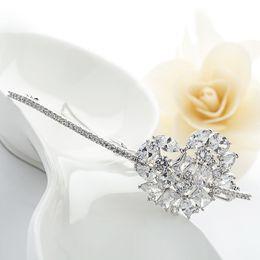 Wholesale Heart Sharp - LUOTEEMI Luxury Hairpins AAA Clear Cubic Zirconia Heart Sharp Women Bridal Barrettes Wedding Girl Hair Jewelry Hair Accessories