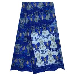 Wholesale Blue Swiss Lace - (5yards pc) high grade African dry cotton lace fabric in gold with stones fine embroidered Swiss lace fabric for wedding party dress PCL15