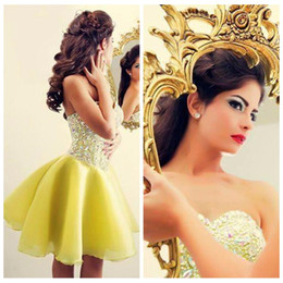 Wholesale Short Bling Homecoming Dresses - 2016 Beautiful Short A-Line Yellow Prom Dresses Bling Bling Beaded Crystal Sexy Homecoming Party Gowns Bandage Back Special Occasion