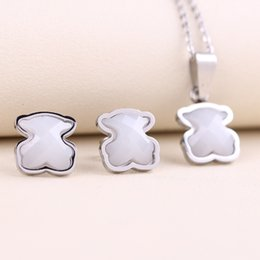 Wholesale Ceramic Jewelry Pendants - No fade Fashion stainless steel 18k gold silver pendant charms bears style brand jewelry white ceramics earring and necklace jewelry set