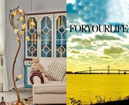 Wholesale Living Room Halogen Floor Lamp - Flower Floor Lamps Wrought Iron Glass Art Deco Floor Lamp Living Room Light Nordic Pastoral