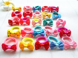Wholesale Hair Accessorie Baby - 50pc elastic hair rope for girls with lovey bowknot baby accessories baby hair Accessorie kids hair elastic band