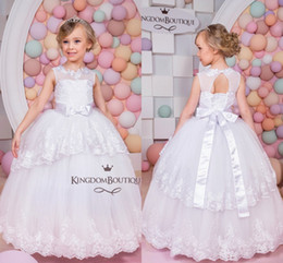 Wholesale Pretty Red Dresses For Girls - New Pretty White Flower Girls Dresses 2017 Sheer Neck Ruched Tiered Puffy Girl Dresses for Wedding Party Gowns Pageant Dresses Big Bow Knot