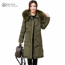 Wholesale Women Long Winter Puffer Jacket - New Hooded Fur Parka Winter Down Cotton Coat Female Long Puffer Jacket Plus Size 2017 Slim Warm Outwear Woman Clothing OKA508