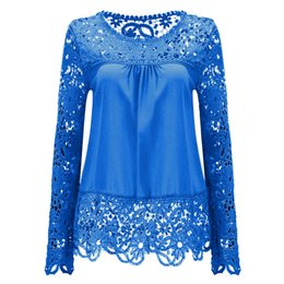Wholesale Ladies Feminine Clothing - 2017 Plus Size 7XL Ladies Blusas Women's Long Sleeve Chiffon Lace Crochet Tops Blouses Women Clothing Feminine Blouse 21 colors