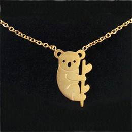 Wholesale Cute Koala Bears - Wholesale 10Pcs lot Limited Hot Sell 2017 Fashion Animal Theme Hip Hop Jewelry Pendant Gold Cute Australian Koala Bear Choker Necklaces