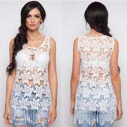 Wholesale Women Sheer Bikinis - In Store White Lace Sheer Tank Tops Sexy Tassel New Design Long Women T Shirt Summer 2016 Hot Sale Bikini Cover up Free Shipping
