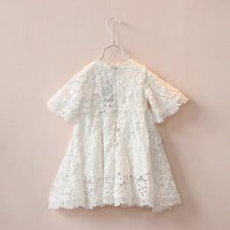 Wholesale Crochet Dress Girl New - Children lace princess Dress summer new girls lace hollow Crochet short sleeve dress kids white party dress children clothing A7608