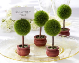 Wholesale Wedding Photo Holders - Wholesale Round Shaped Green Topiary Tree Photo Holder and Place Card Holder Wedding Favor Table Decoration wen4481