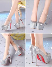 Wholesale Cheap Bling High Heels - New Arrival Wedding Shoes Siver 14.5cm Heel High Quality Bling Rhinestones Wedding Dresses Shoes For Women Cheap Bridal Shoes Prom Shoeses
